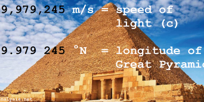 Great Pyramid GPS coordinate - speed of light